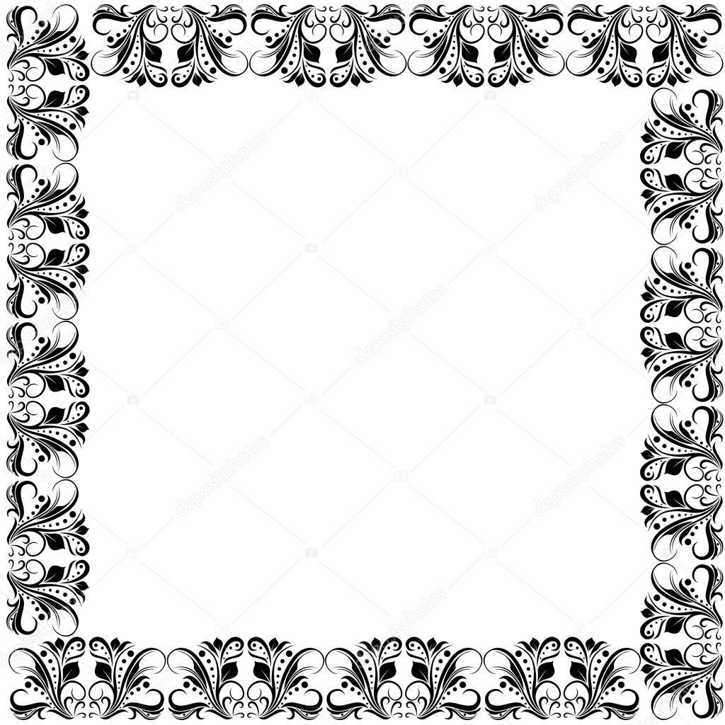 Floral verzierten schwarzen Rahmen — Stockvektor © natreal #122077278