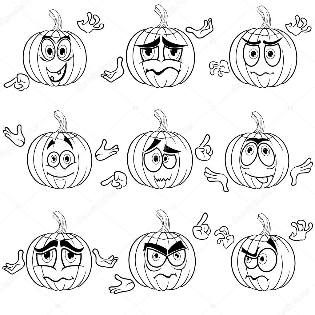 amusing gesticulating pumpkin outlines — stock vector © natreal