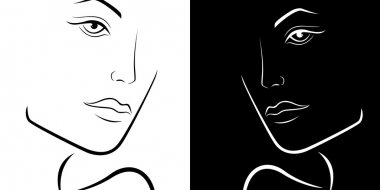 Black and White female laconic heads outline