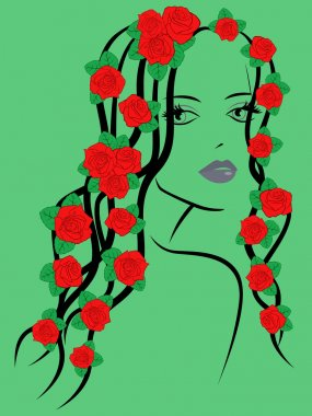 Fashionable girl with roses on hair