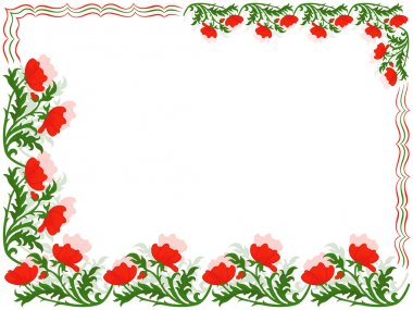 Greeting card with red poppies and colour lines