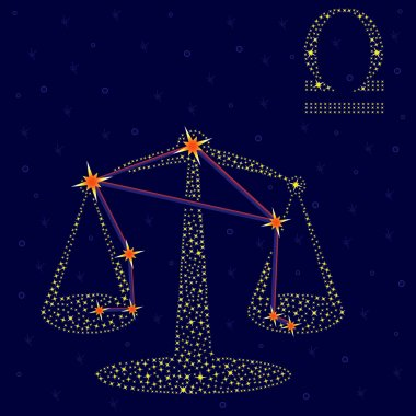 Zodiac sign Libra on a background of the starry sky with the scheme of stars in the constellation, vector illustration stock vector