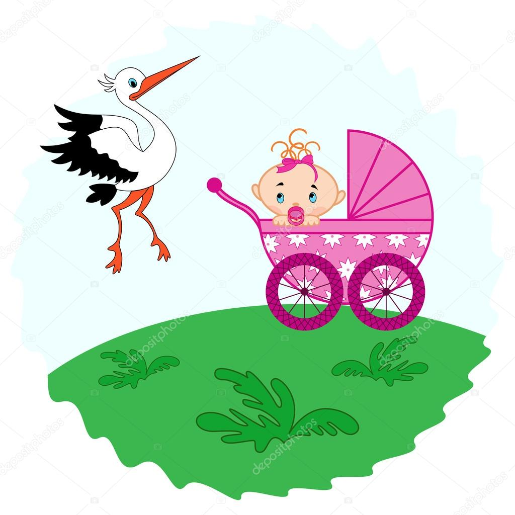 Baby girl in a pram and stork beside her