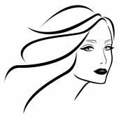 Krásná mladá dáma s vlnité vlasy
