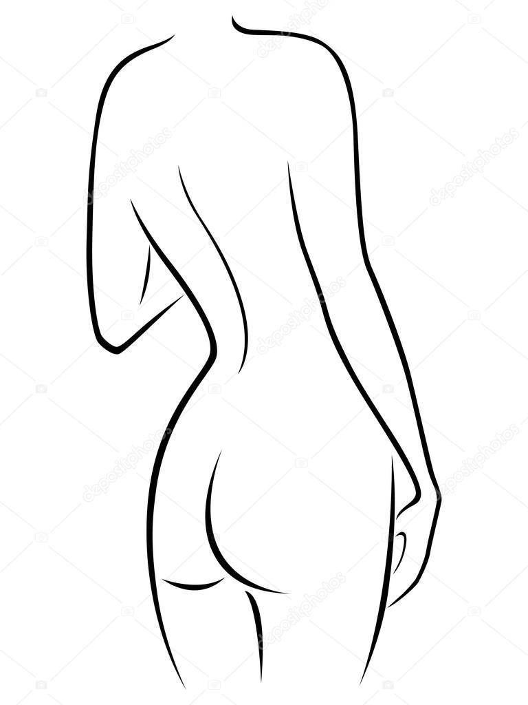 Figura femenina elegante con una vista de la parte posterior ...