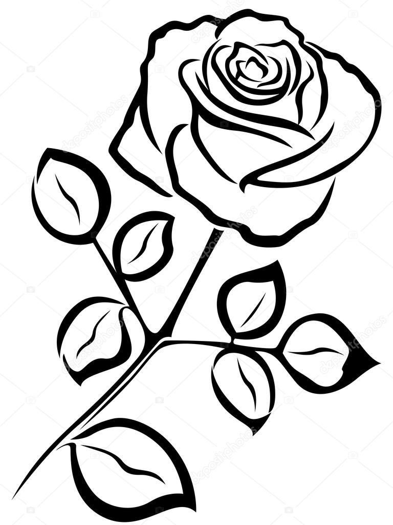 Rose Black Outline Stock Vector 169 Natreal 76397393