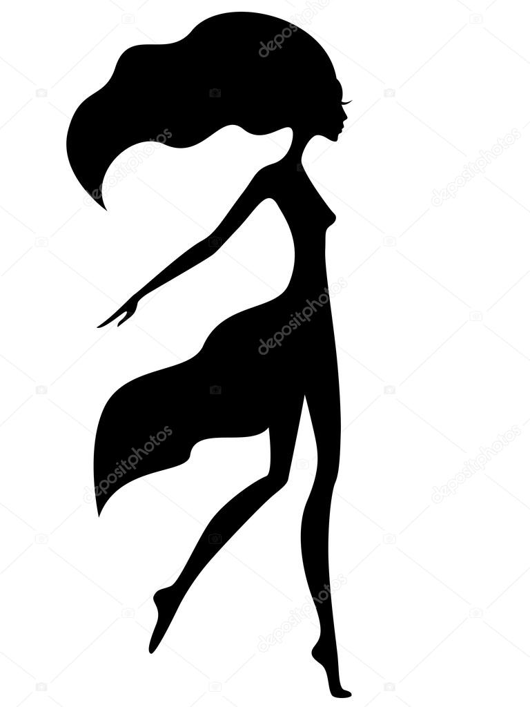 Graceful girl with waving hair