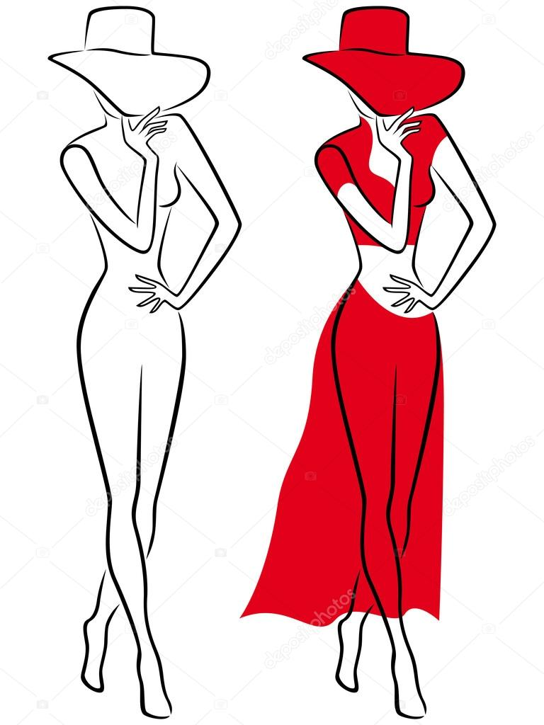 Lady in red hat and long dress