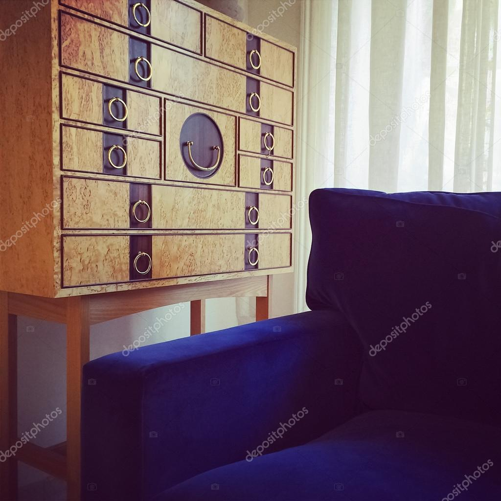 Trä dresser och blå sammet fåtölj u2014 Stockfotografi u00a9 GoodMoodPhoto #55905129