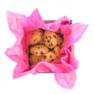 Cookies in a gift box on white background