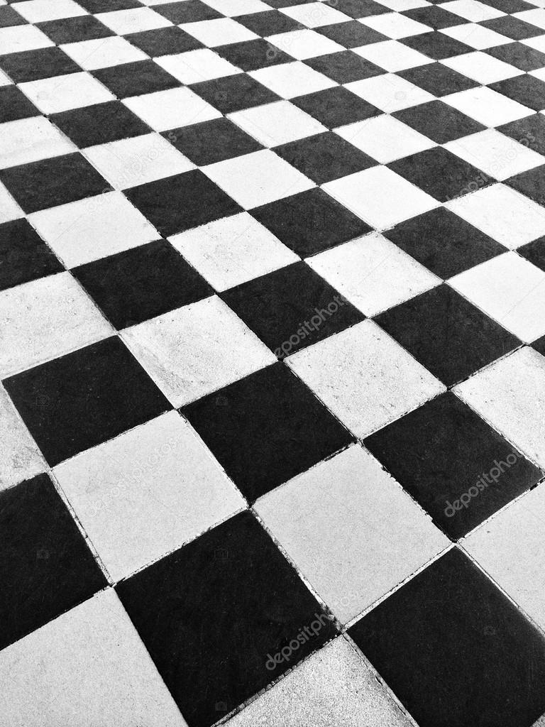 Piso De Azulejo Preto E Branco Stock Photo
