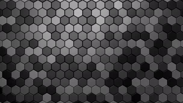 Sechsecke bilden eine Welle. Abstrakte Bewegung, 3D-Darstellung, 4k-Auflösung