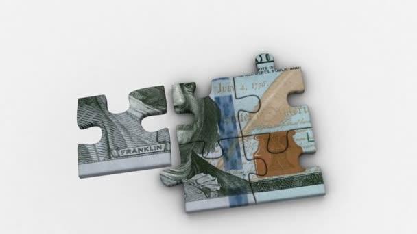 Animované puzzle s obrázkem nové 100 dolarů