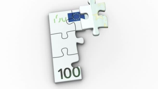 Animované puzzle s obrázkem 100 Euro, 100 dolar a Libra 50