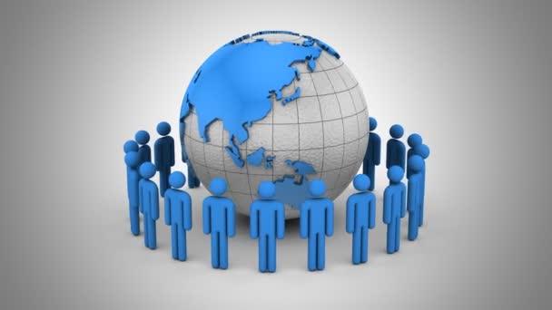 Menschen bilden einen Kreis um die Erde