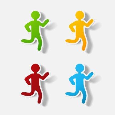 Paper clipped sticker: running Man