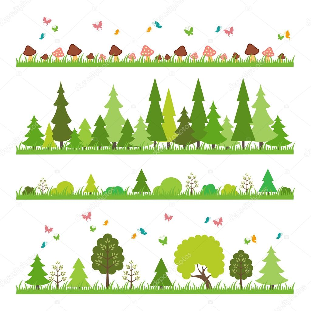 composition of green wood on white background flat style trees
