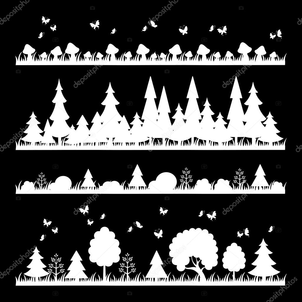 composition of white wood on black background trees flat style