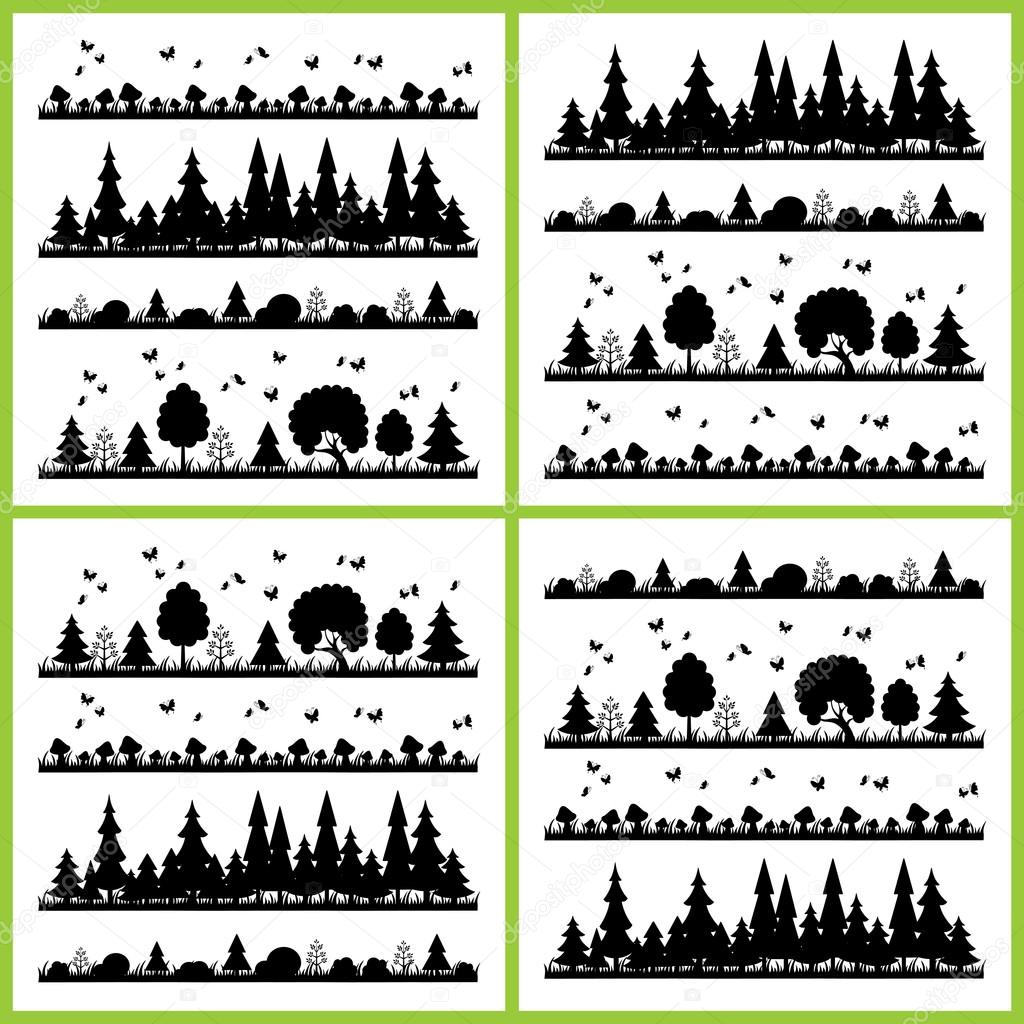 Фотообои Composition black forest on a white background flat style trees