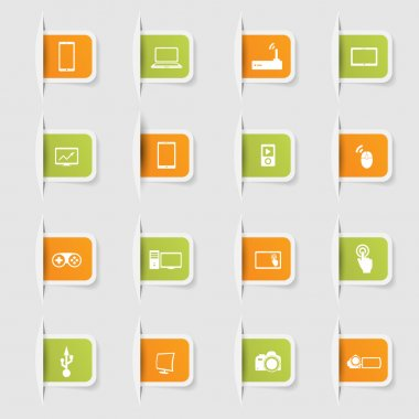 Set, a collection of unique paper stickers icons technology