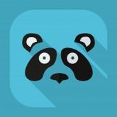 Plochá moderní design s stín ikony pandy