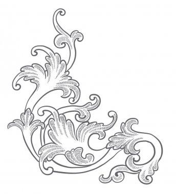 Baroque engraving floral design
