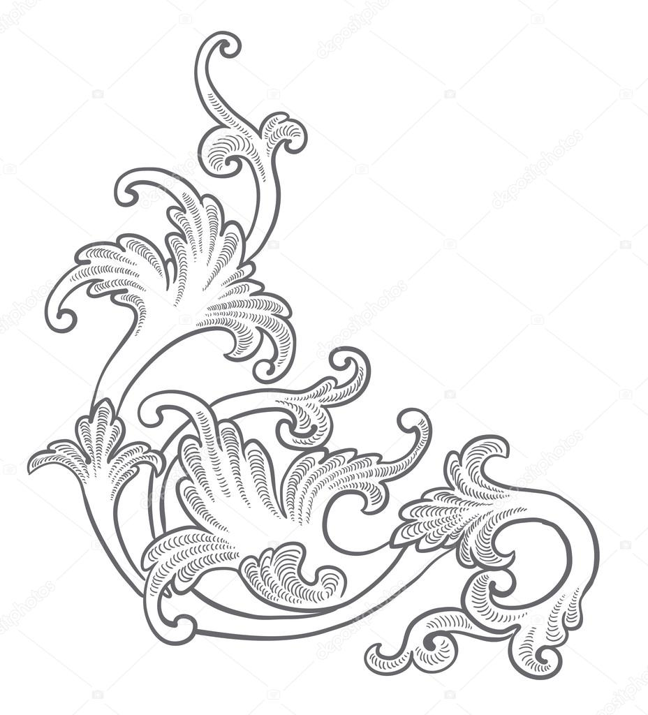 Baroque Engraving Floral Design Stock Vector 169 Tueris