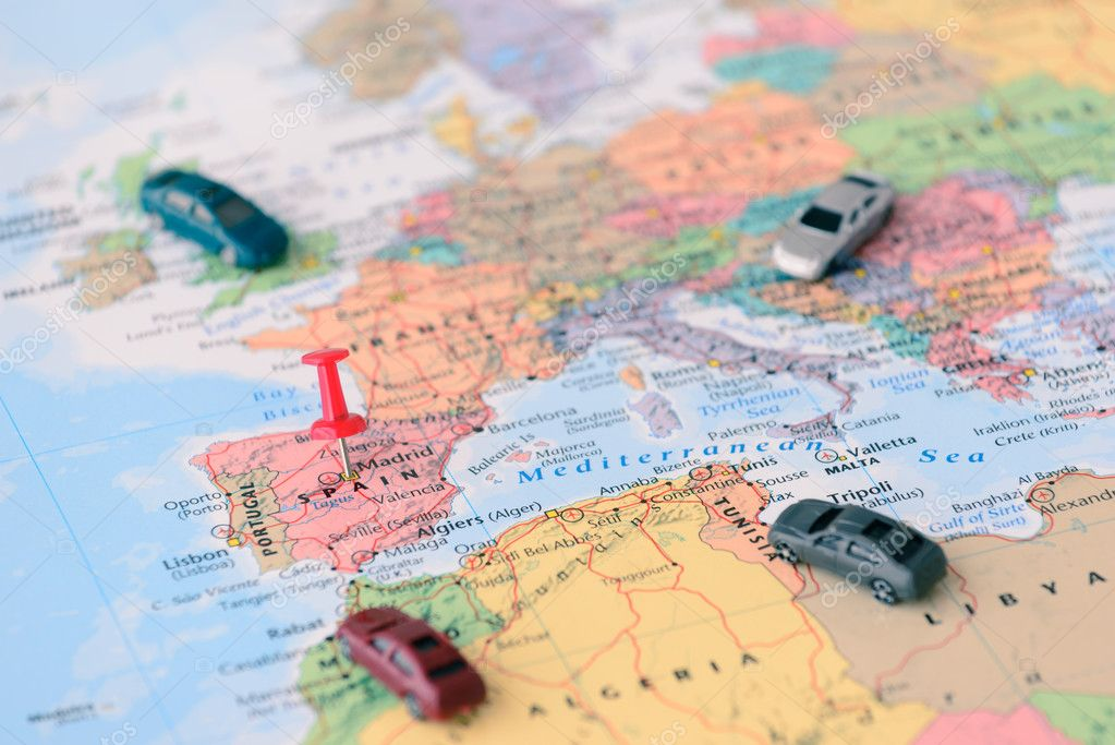 Pinned Map Madrid Spain Miniature Car — Stock Photo © itman47 #109112142