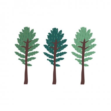 Set of green trees doodle drawing. Minimal concept of sustainable living, eco forest. Cute plants with texture. Hand drawn flat vector illustration in cartoon style isolated on white background icon