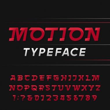 Motion alphabet vector font.