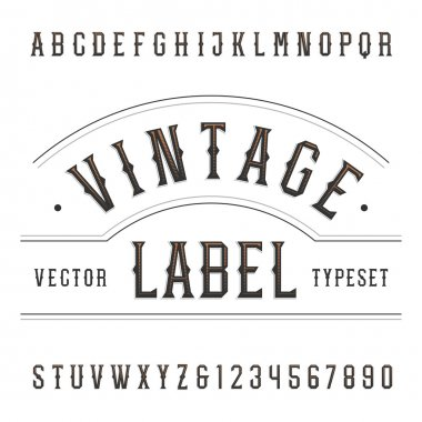 Vintage alphabet vector font. Type letters and numbers in western style.