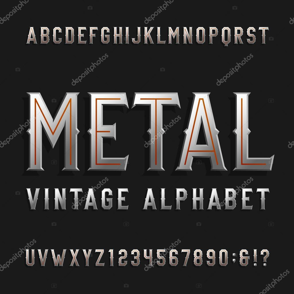 Metal Letters And Numbers Extraordinary Vintage Style Alphabet Vector Fontmetal Effect Letters And Design Decoration