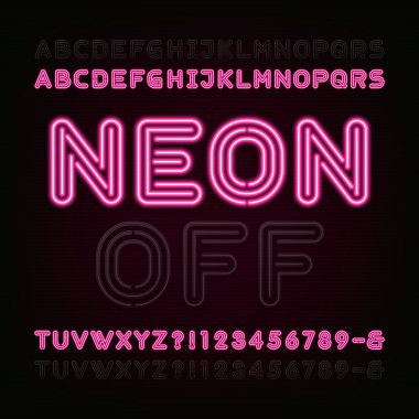 Neon Light Alphabet Font. Two different styles. Lights on or off.