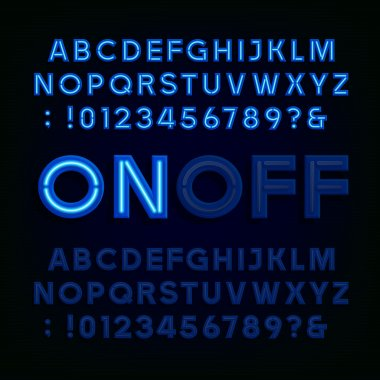 Blue Neon Light Alphabet Font. Two different styles. Lights on or off.