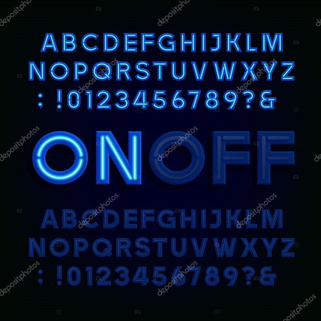 Blue Neon Light Alphabet Font Two Different Styles Lights On Or Off Type Letters Numbers And Symbols Vector Typography For Animation Labels Titles