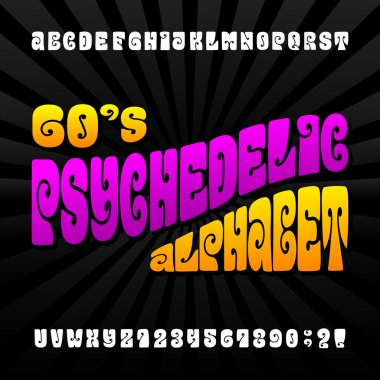 Psychedelic alphabet vector font