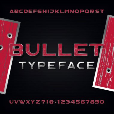 Bullet Hole Alphabet Vector Font. Distressed metallic letters and numbers with bullet holes and scratches.