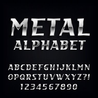 Metal Alphabet Vector Font. Oblique chrome letters and numbers on the dark background.