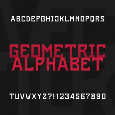 Geometric alphabet vector font. Type letters and numbers.