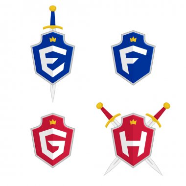 Letter E, F, G, H vector logo templates. Letter logo with shield and sword.