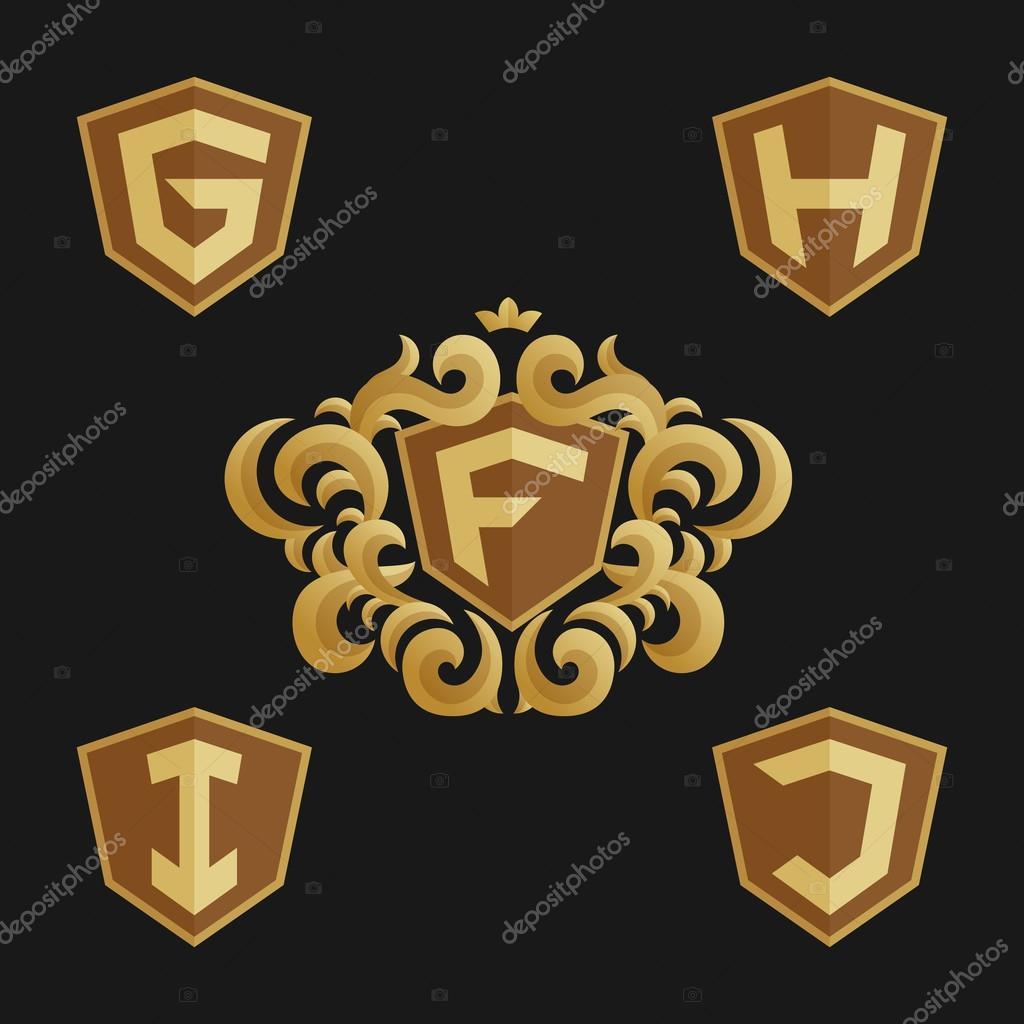 Dekorativ verzierten Monogramm Emblem Vorlage. Stilvolle Satz von ...
