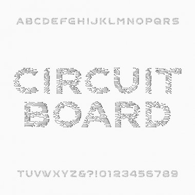 Circuit board font. Vector Alphabet. Digital hi-tech style letters and numbers.