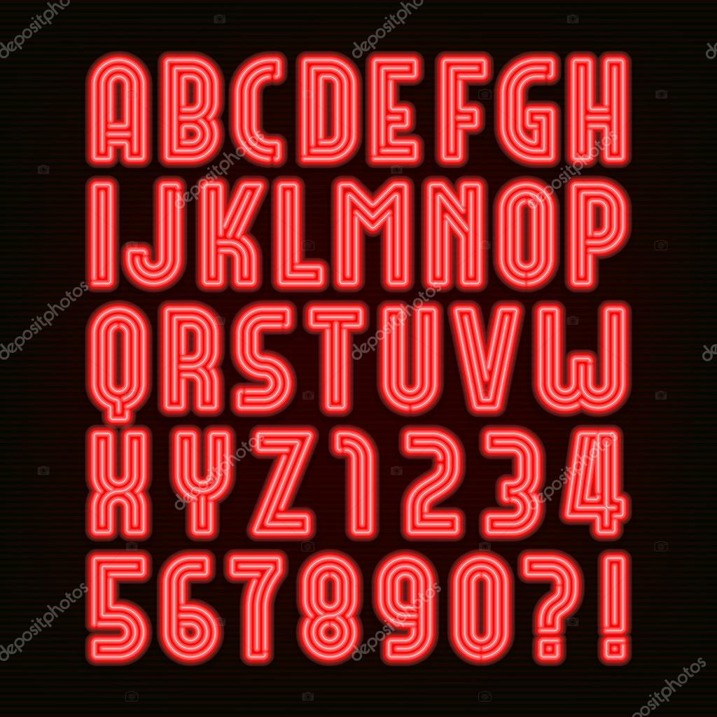 Retro Red Neon Tube Alphabet Font Type Letters And Numbers Stock Vector