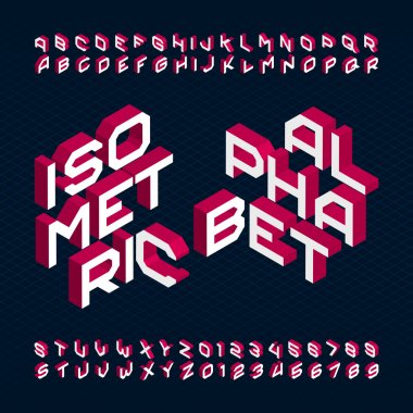 3D isometric alphabet font. Type letters and numbers.