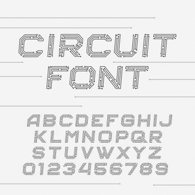 Circuit board font. Vector Alphabet.