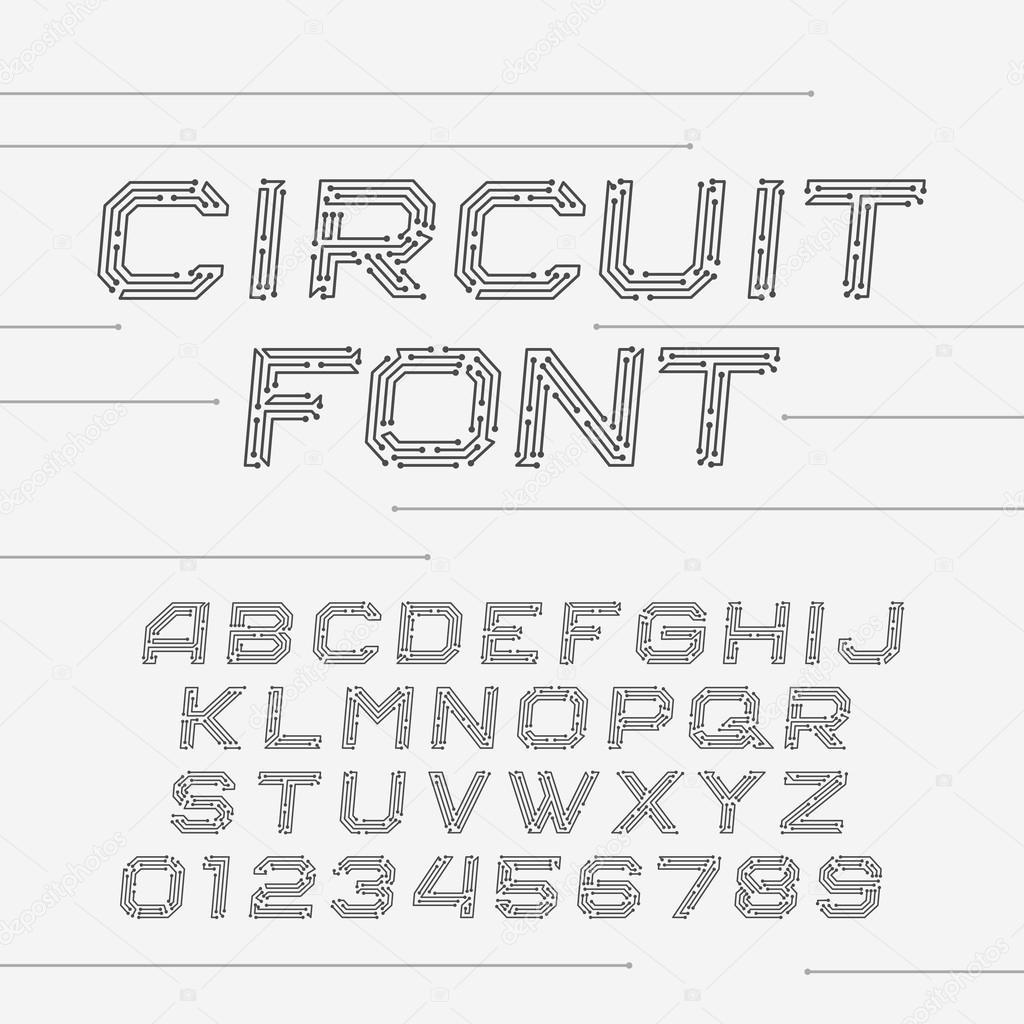 Police de circuit imprimé. Alphabet de vecteur — Image vectorielle ...