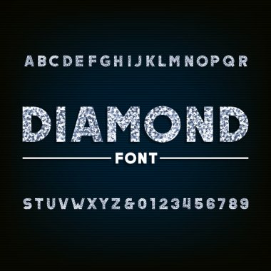 Diamond alphabet font. Brilliant letters and numbers.