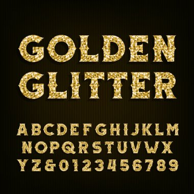 Golden glitter alphabet font. Retro style letters and numbers.