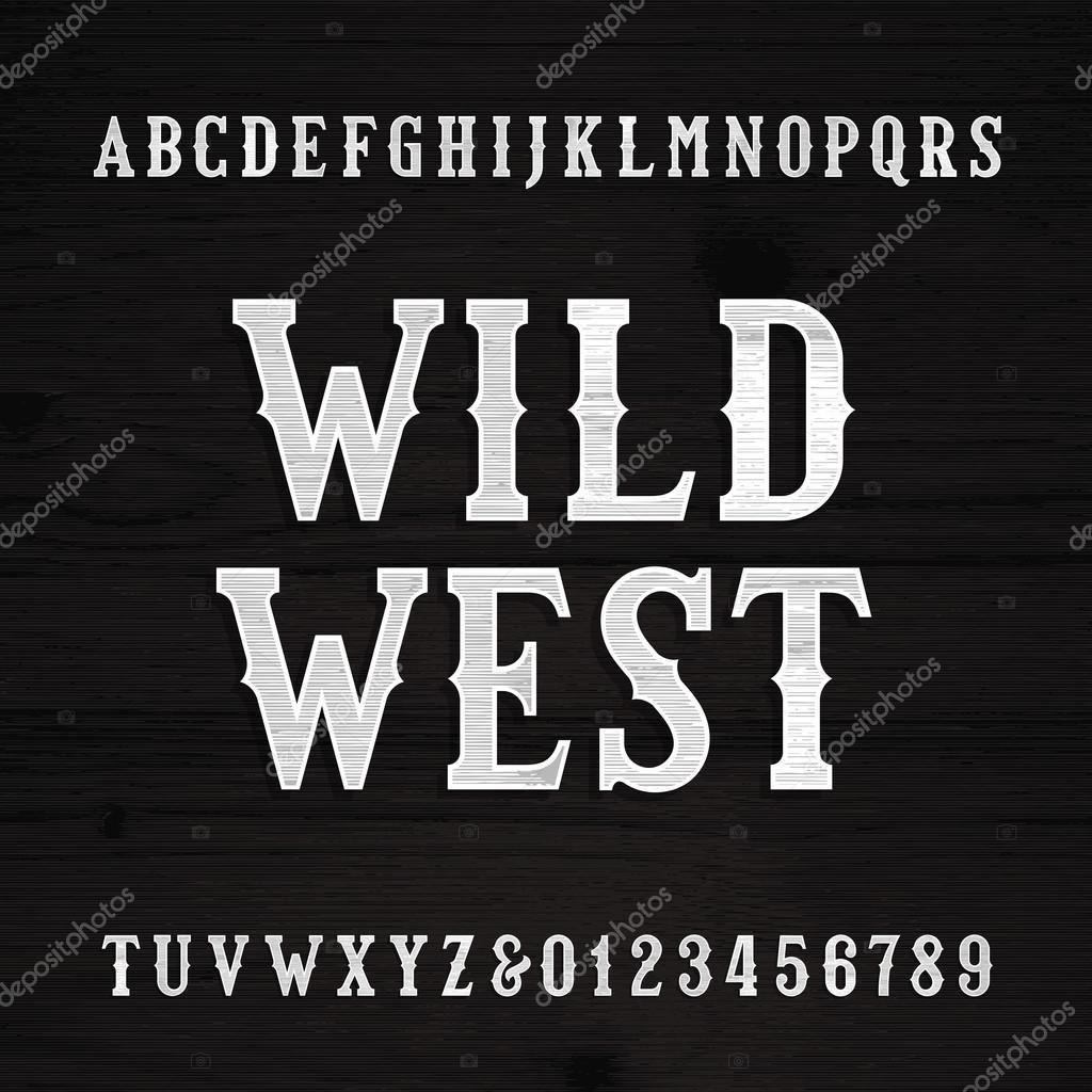 Letra de wild west alfabeto vintage letras de madera de la textura vector