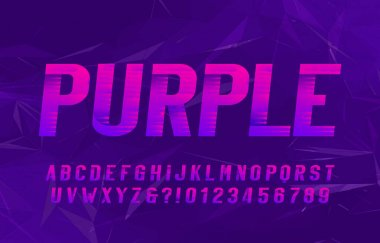 Purple alphabet font. Italic type letters and numbers. Abstract background. Stock vector typeface for your typography design.